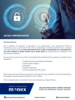 Ofertas de Bancos y Servicios en el catálogo de MONEX Grupo Financiero en Aguascalientes ( 19 días más )