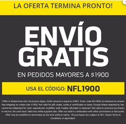 Cupón Tienda NFL en Tlalnepantla ( Caduca hoy )