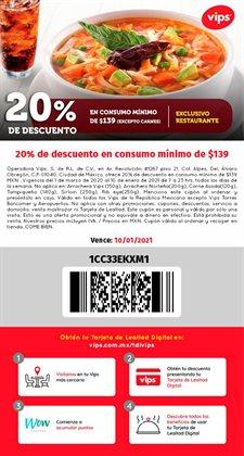 Ofertas de Restaurantes en el catálogo de Vips en Iztacalco ( Más de un mes )
