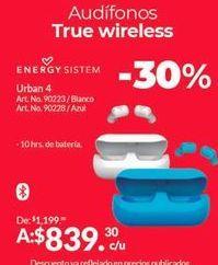 Oferta de Auriculares inalámbricos Energy por $839.3