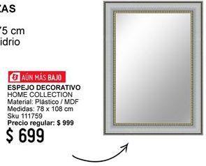 Oferta de Espejo Home Collection por $699