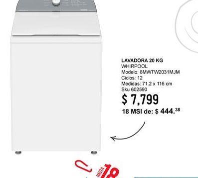 Oferta de Lavadoras Whirlpool por $7799
