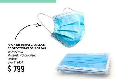 Oferta de Mascarilla Workpro por $799