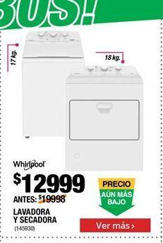 Oferta de Lavadora y secadora Whirlpool por $12999