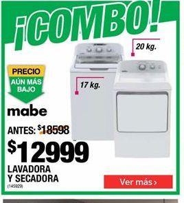 Oferta de Lavadora y secadora Mabe por $12999