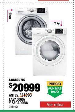 Oferta de Lavadora y secadora Samsung por $20999