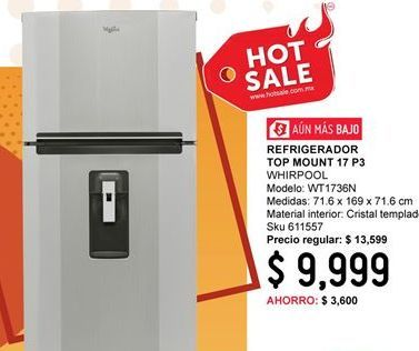 Oferta de Refrigeradores Whirlpool por $9999