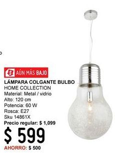 Oferta de Lámparas Home Collection por $599