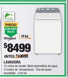 Oferta de Lavadoras Whirlpool por $8499