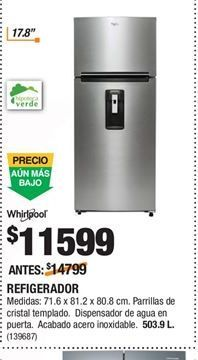 Oferta de Refrigeradores Whirlpool por $11599