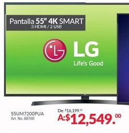 Oferta de Smart tv led 55'' LG por $12549