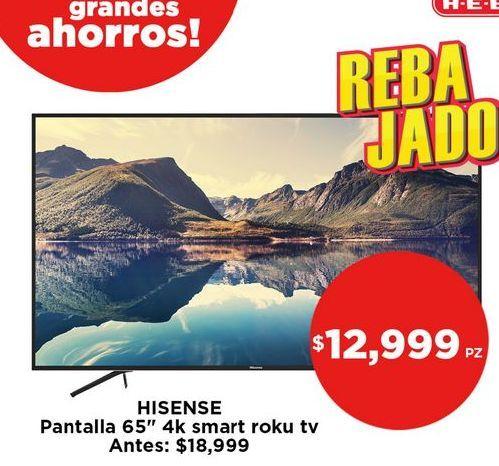 "Oferta de Hisense  Pantalla 65"" 4k smart Roku tv por $12999"
