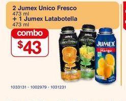 Oferta de 2 Jumex Unico Fresco + 1 Jumex Latabotella por $43