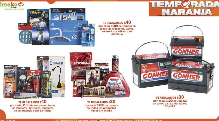 Oferta de Te Regalamos $30 por cada $100 de compra en todos los acumuladores Gonher por