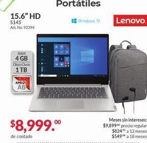 """Oferta de Laptop Lenovo 15,6"""" HD por $8999"""