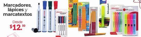 Oferta de Marcadores, lápices y marcatextos por $12.5