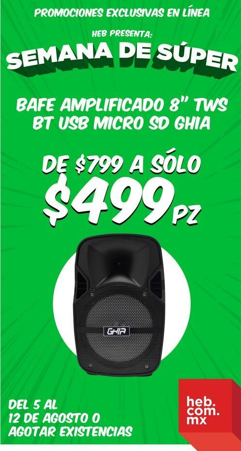 """Oferta de Bafle Amplificado 8"""" TWS BT USB Micro SD Ghia por $499"""