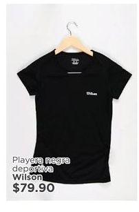 Oferta de Playera Negra Deportiva Wilson por $79.9