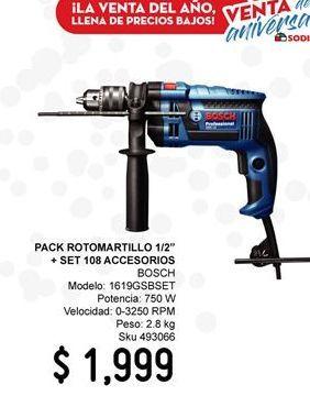 """Oferta de Pack Rotomartillo 1/2"""" + Set 108 Accesorios por $1999"""
