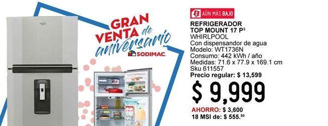 Oferta de Refrigerador Top Mount  Whirlpool por $9999