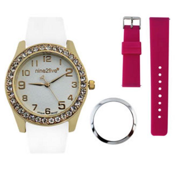Oferta de Reloj Nine2five Análogo Dama Silicón AVLN11BLGL Blanco por $499.5
