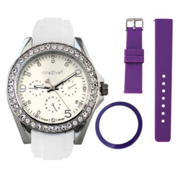 Oferta de Reloj Nine2five Análogo Dama Silicón ABCA11BLSL Blanco por $474.5