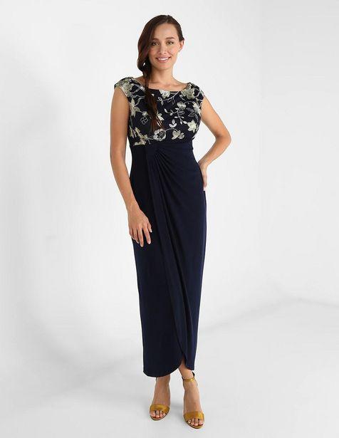 Oferta de Vestido de fiesta Connected Apparel azul marino con bordado por $779.4
