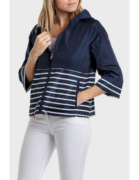 Oferta de Chamarra Punt Roma azul marino a rayas con capucha por $1399.5