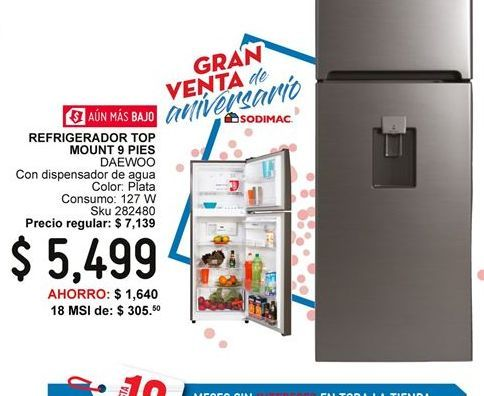 Oferta de Refrigerador Top Mount 9 Pies Daewoo por $5499