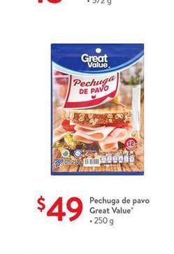 Oferta de Pechuga de pavo Great Value por $49