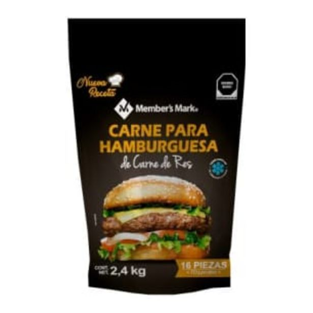 Oferta de Carne para Hamburguesa Member's Mark 100% Carne de Res 2.4 kg por $255.75