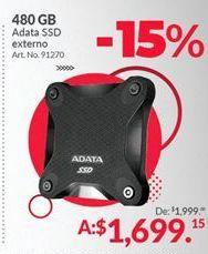 Oferta de Disco duro portátil 480 GB Adata por $1699.15