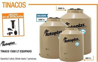 Oferta de Tinacos Rotoplas 1500 LT por