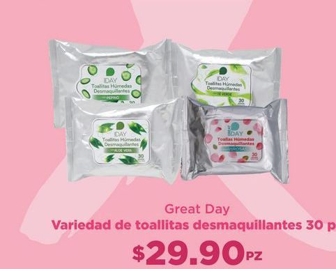 Oferta de Toallitas desmaquillantes Great Day por $29.9