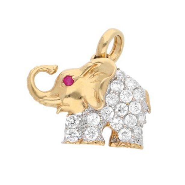 Oferta de Dije hechura especial motivo elefante con sintéticos en oro dos tonos 14 kilates. por $6005