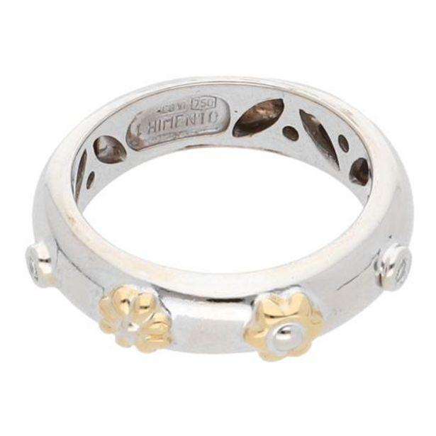Oferta de Argolla lisa motivo flor con diamantes en oro dos tonos 18 kilates. por $9759