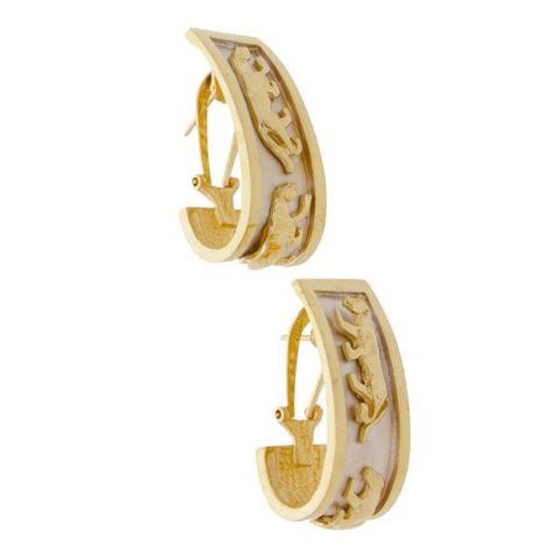 Oferta de Aretes hechura especial motivo panteras en oro dos tonos 14 kilates. por $16544