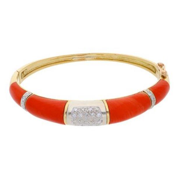 Oferta de Pulsera rígida articulada con diamantes y coral en oro dos tonos de 18 kilates. por $39038