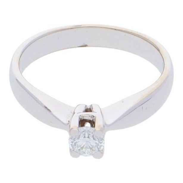 Oferta de Anillo solitario con diamante en oro blanco de 14 kilates. por $13548