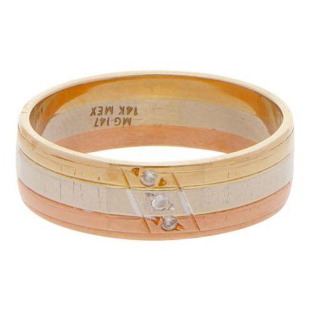 Oferta de Argolla acanalada en oro tres tonos 14 kilates. por $4529