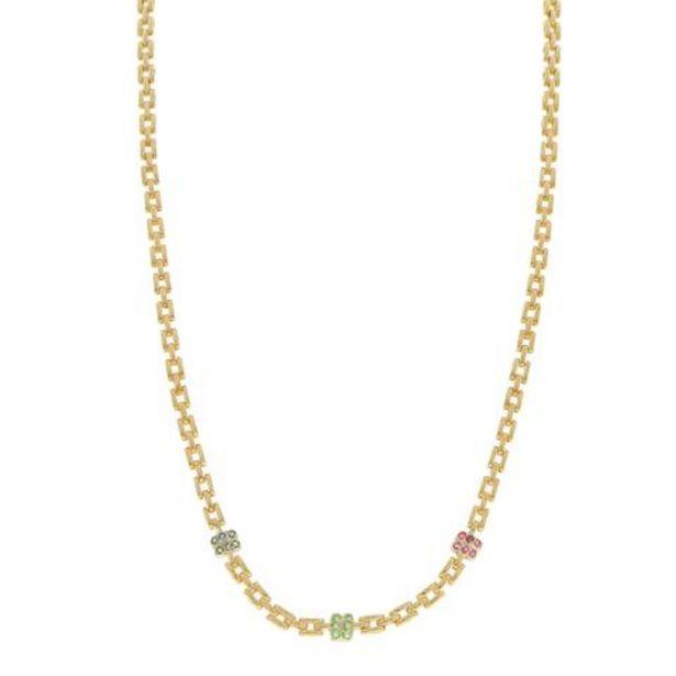 Oferta de Gargantilla eslabón articulado con zafiros esmeraldas y rubíes en oro dos tonos 14 kilates. por $18835
