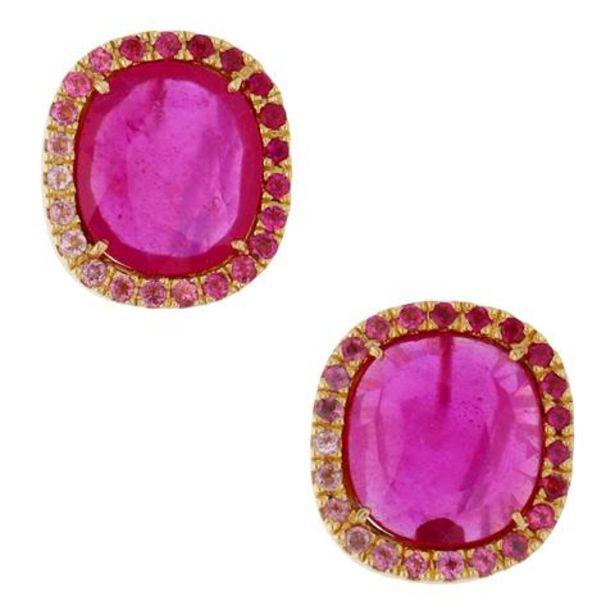 Oferta de Aretes firma Tous estilizados con rubíes en oro amarillo. por $28344