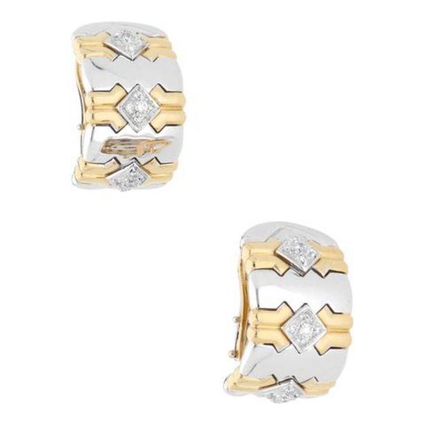 Oferta de Aretes hechura especial con diamantes en oro dos tonos 18 kilates. por $46264