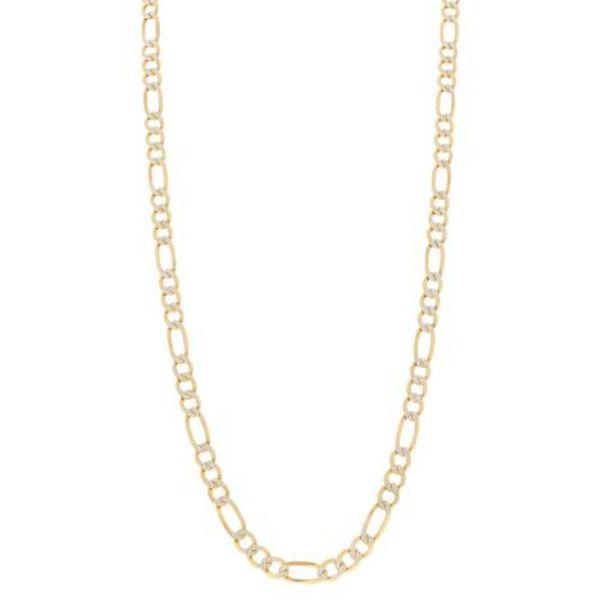 Oferta de Collar hechura italiana de tres eslabones por uno platinados en oro amarillo 14 kilates. por $24216
