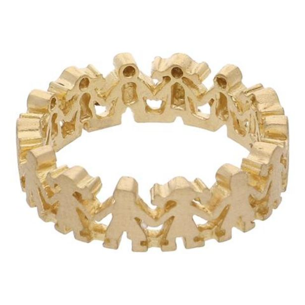 Oferta de Argolla calada motivo niños en oro amarillo 18 kilates. por $8412