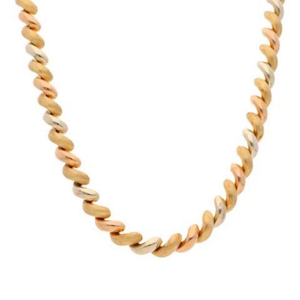 Oferta de Gargantilla hechura italiana eslabón articulado hueco en oro tres tonos 14 kilates. por $59857