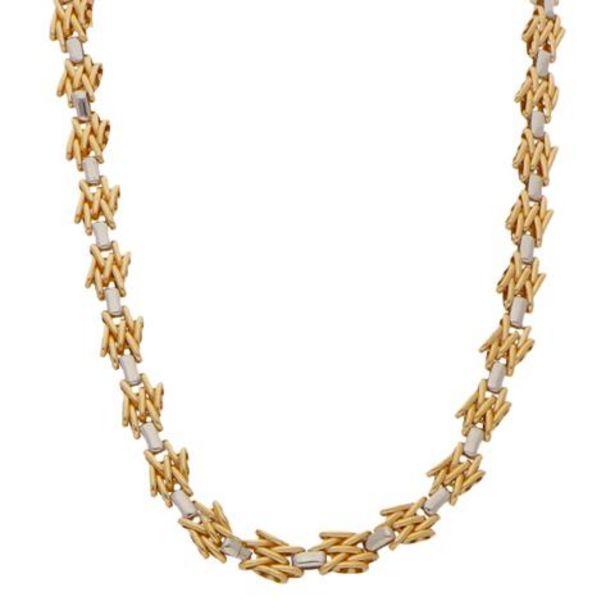 Oferta de Gargantilla hechura italiana eslabón articulado en oro dos tonos 18 kilates. por $66035
