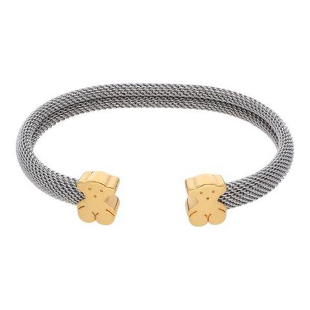 Oferta de Brazalete abierto eslabón tejido en acero con aplicaciones motivo oso firma Tous en oro amarillo 18 kilates. por $14566
