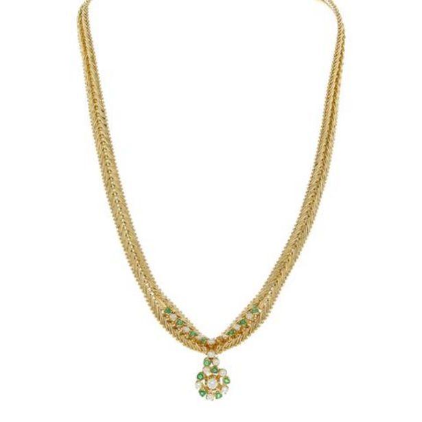 Oferta de Gargantilla eslabón boleado con diamantes y esmeraldas en oro amarillo 18 kilates. por $73798