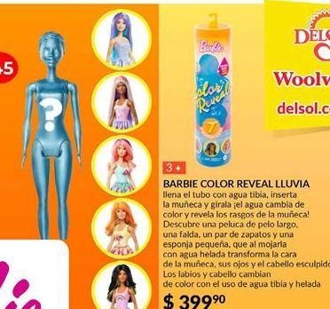 Oferta de Muñecas Barbie color reveal lluvia por $399.9